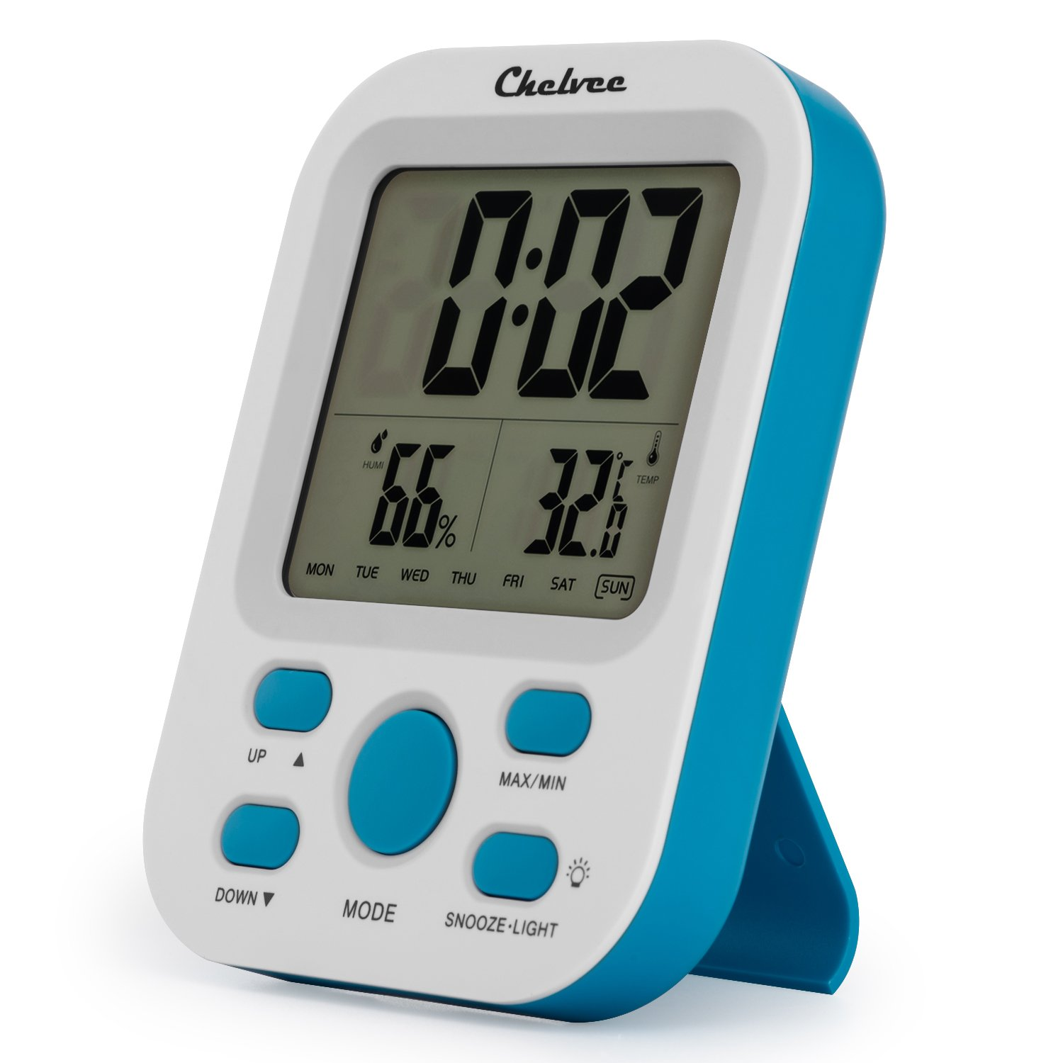 Chelvee Alarm Clock, Large LCD Screen Alarm Clock with Time/Date/Temperature/Humidity Display, Snooze Function, Stand or Wall Mount, Battery Operated (Blue)