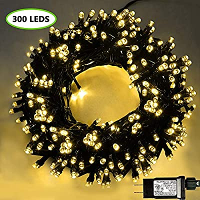 XTF2015 105ft 300 LED Christmas String Lights, End-to-End Plug 8 Modes Christmas Lights - UL Certified - Outdoor Indoor Fairy Lights Christmas Tree, Patio, Garden, Party, Wedding, Holiday