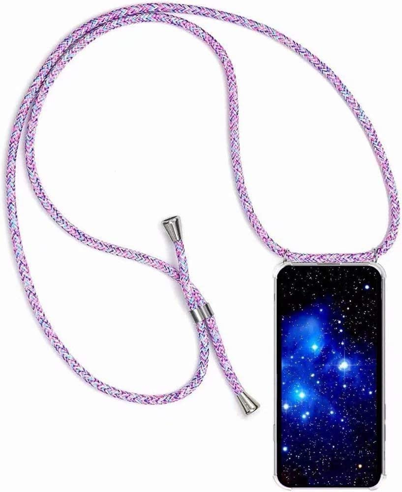 Bigcousin Funda con Cuerda Compatible con Samsung Galaxy A10E,Ultrafina Suave Carcasa Transparente de TPU con Ajustable Collar Cadena Cord/ón,Negro