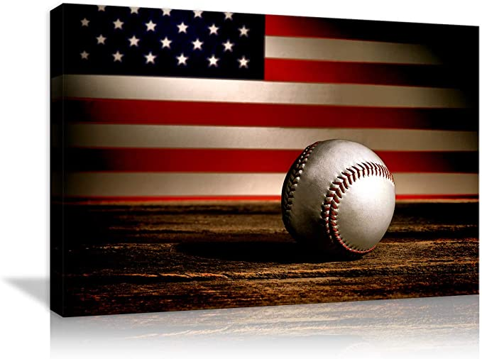Amazon Com Vintage Patriotic Concept American Flag Baseball Canvas Prints Wall Art Thin Blue Red Line Usa Flag Home Decor Stars Stripes Pictures For Living Room Home Decor Painting Framed Artwork Ready To