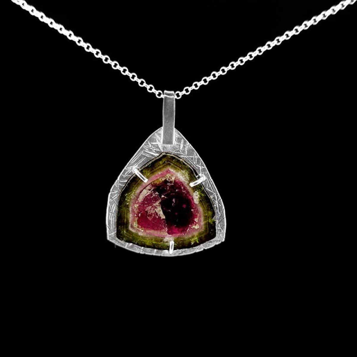 Colgante de Turmalina Sandía - Plata de Ley (B7) Minerales y Cristales, Belleza Energética, Meditacion, Amuletos Espirituales