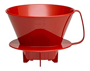 HIC Coffee Filter Cone, Red, Number 4-Size Filter, Brews 8 to 12-Cups