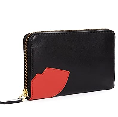 f51494458661c Lulu Guinness black leather abstract Lips Continental Wallet  Amazon.co.uk   Shoes   Bags