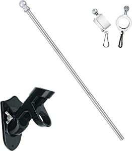 HOSKO Flag Pole Kit, 1 Inch Diameter 5FT Flag Pole with Bracket for America Flag, Stainless Steel Rustproof Pole, Suits for Commercial Yard or Garden Decoration (Pole+Bracket)