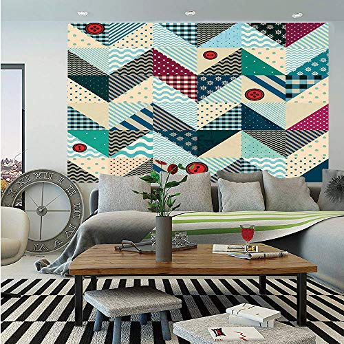 (SoSung Farmhouse Decor Huge Photo Wall Mural,Chevron Patchwork with Vintage Stylized Line and Retro Button Forms Kitsch Artsy,Self-Adhesive Large Wallpaper for Home Decor 100x144)
