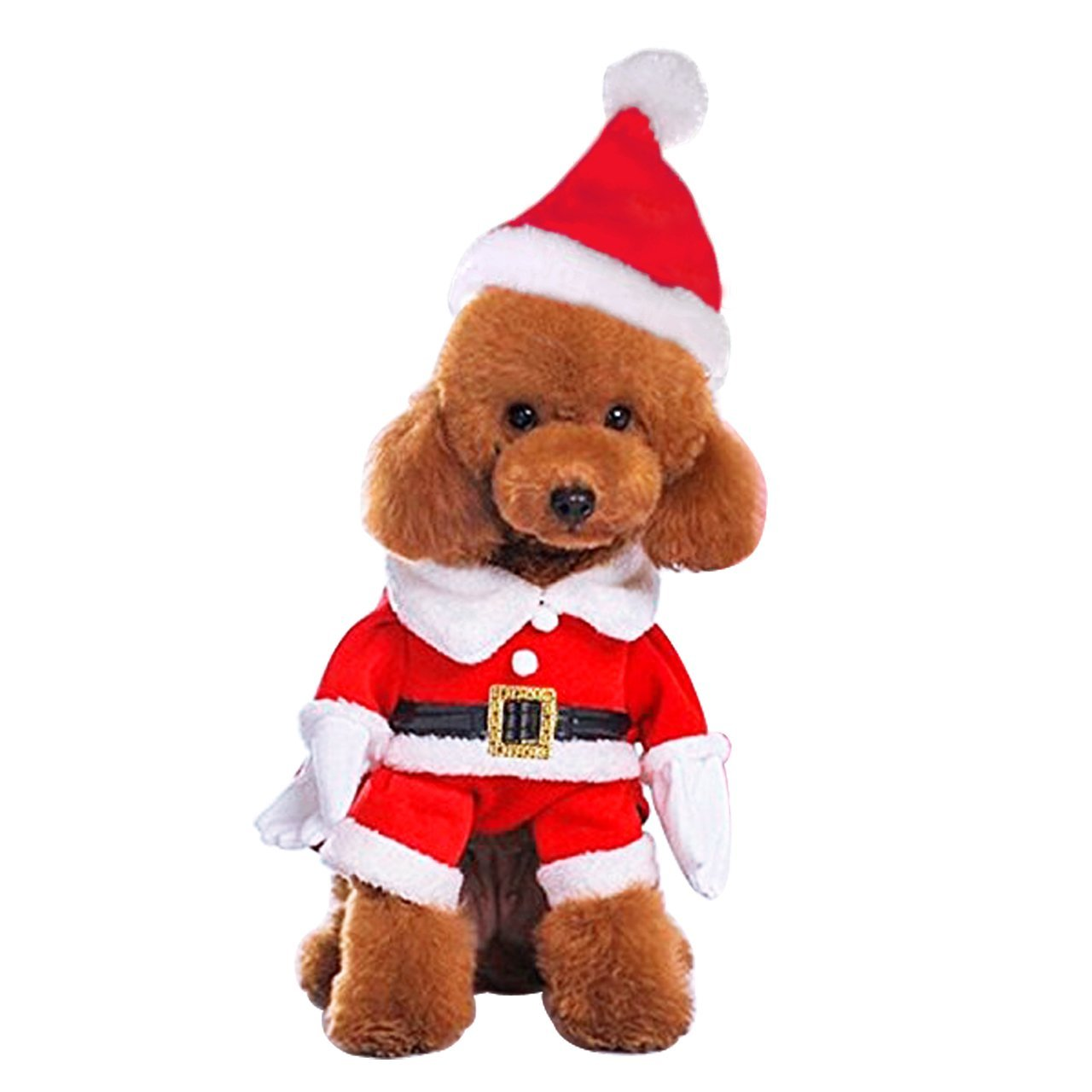 Santa Claus Costume S for 3.05.5 lbs Santa Claus Costume S for 3.05.5 lbs Mogoko Dog Cat Christmas Santa Claus Costume, Funny Pet Cosplay Costumes Suit with a Cap, Puppy Fleece Warm Outfit Apparel Festival Clothes