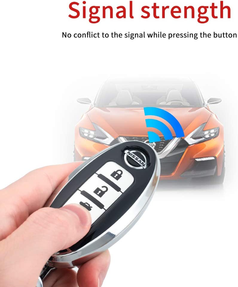 Blue 121Fruit Way for Nissan Key Fob Cover,Key Fob Case for Nissan Altima Maxima Murano Rogue Sentra 370z Pathfinder Smart Remote Premium Soft TPU Nissan Key Cover 4 Button