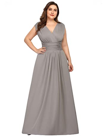 f65dbebbddd4 Ever-Pretty Women's Plus Size V-Neck Wrap Dress Long Formal Evening Dress  07661