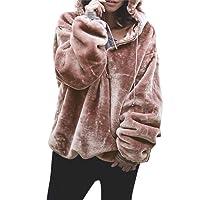 Rosennie Ladies Coat,Women Autumn Winter Fashion Tops Long Sleeves Hooded Outwear Set Sweatshirt Fluffy Sweater Warm Oversize Overcoat