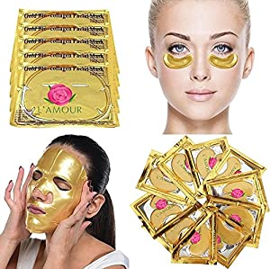 20 Pairs of Eye Masks + 5 Face Masks | 24K Gold Powder Crystal Gel Collagen Facial & Eye Mask Set | Anti-Aging & Moisturizing; Reduces Dark Circles, Puffiness, Wrinkles | By L'Amour
