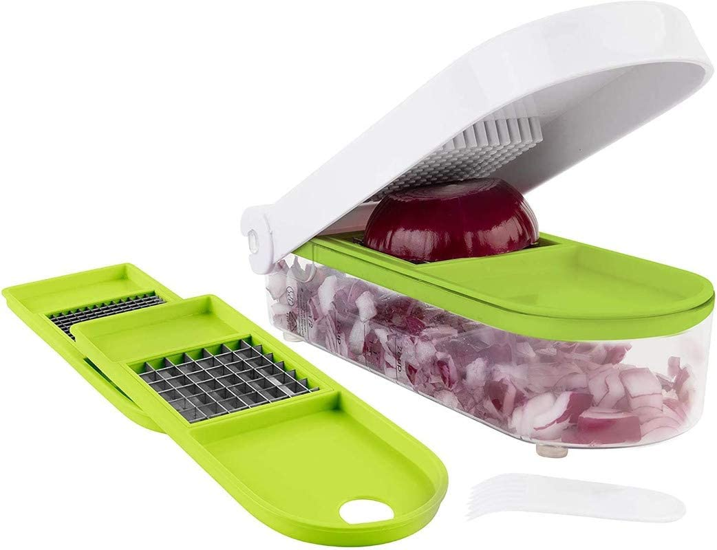Onion Chopper Pro Vegetable Chopper Slicer Dicer Cutter - Strongest NO MORE TEARS 80% Heavier Duty Cheese & Veggie Chopper - Food Chopper Kitchen Cutter Dicer with 2 Blades