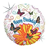 Betallic Foil Balloon 83596P Pop Art Butterfly Birthday, 36'', Multicolored