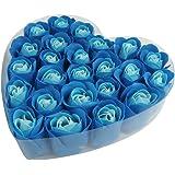 SODIAL (R) 24 pz blu sapone petalo del fiore rosa Cuore Regalo scatola vasca da bagno