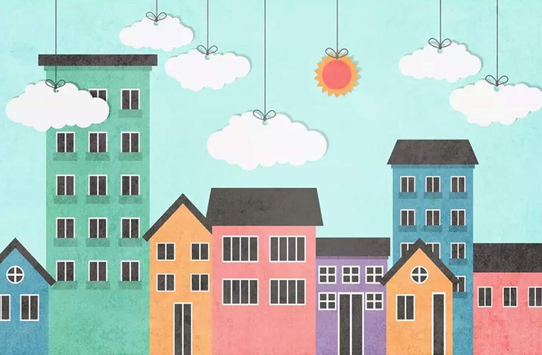 Amazon Com Cartoon City Nursery Wallpaper Kids Cartoon Cloud And