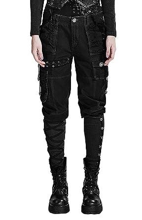 Noir Xl Multi Punk Femme Goth PochesRock Rave Militaire Pantalon WE2IYD9He