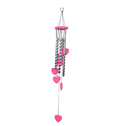 Gupta Fancy Store Metal Fengshui Wind Chimes with Pink Heart Shape and Silver Pipes