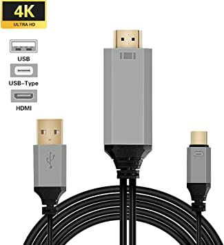 USB tipo C a HDMI cable, 3 en 1 1080P 4 K @ 30Hz HD TV Cargador