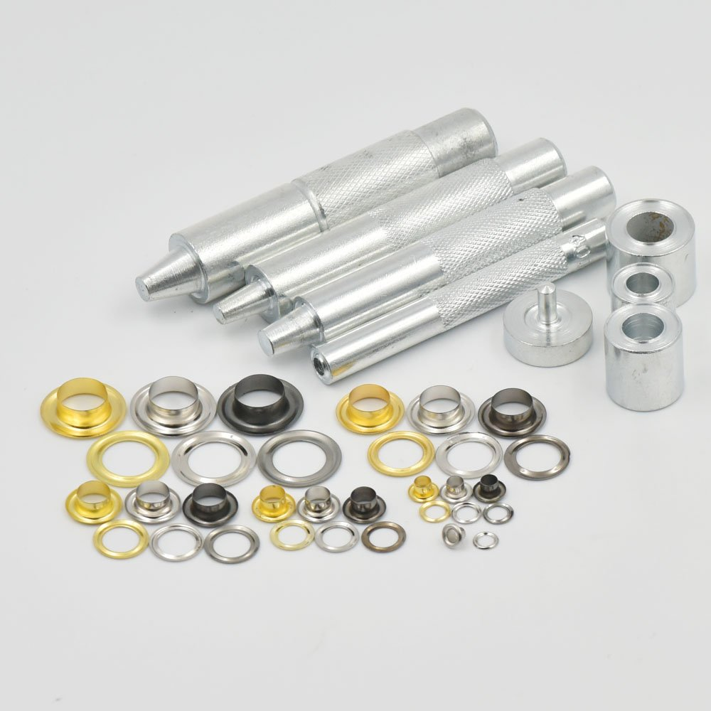 100 sets Grommets Eyelets 4/16' 3/10' 3/8' 1/2' 6mm 8mm 10mm 12mm + One Tool for Clothes Self Backing micoshop
