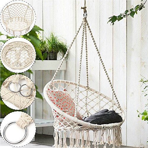 GADE10 Woven Hammock Swing Chair,260 Pounds Cotton Rope Macrame Hammock Mesh Chair Basket Swing Outdoor/Indoor/Home/Garden Reading Leisure Lounging (Hammock Chair) by GADE10