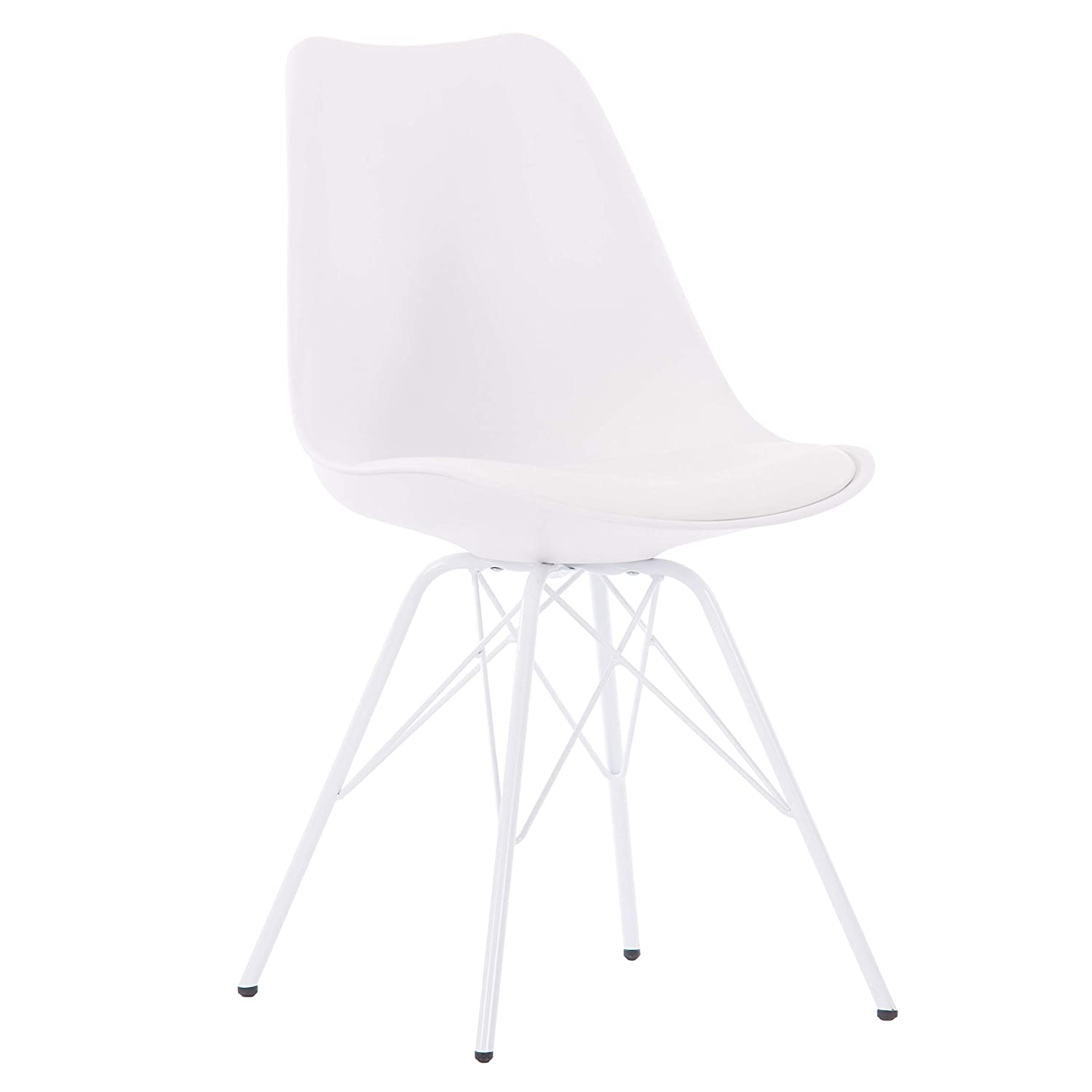 Porthos Home Midcentury Modern Eames Style DSR Dining Room Chair with Unique White Wire Metal Base, Easy Assembly, Single