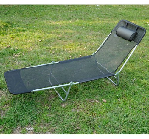 Outsunny Adjustable Reclining Beach Sun Lounge Chair, Black