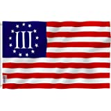 ANLEY [Fly Breeze] 3x5 Foot Nyberg Three Percent Flag - Vivid Color and UV Fade Resistant - Canvas Header and Double Stitched - 3 Percenters Flags Polyester with Brass Grommets 3 X 5 Ft