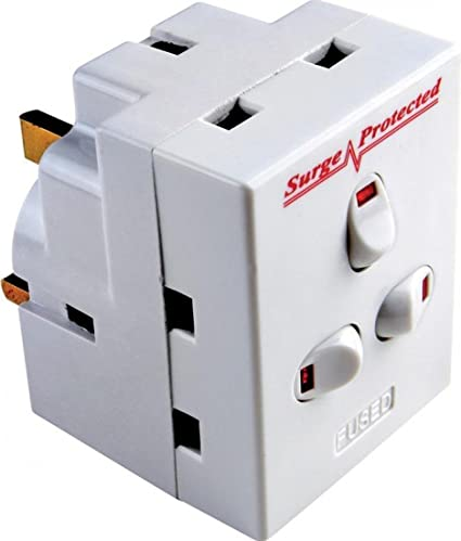 3 Way Switched Adaptateur Surge Protected Plug 13AMP UK Neon Multi Plug
