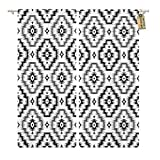 Golee Window Curtain American Black and White Ikat Ethnic Pattern Aztec Boho Home Decor Rod Pocket Drapes 2 Panels Curtain 104 x 96 inches Review