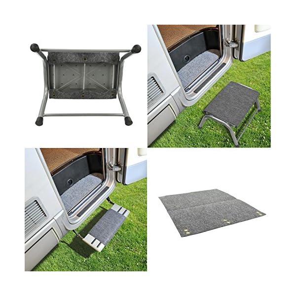 615M6pVqRUL freizeit Fußmatte für Trittstufen Wohnwagen Wohnmobil Fußmatte, 45x40 cm, grau