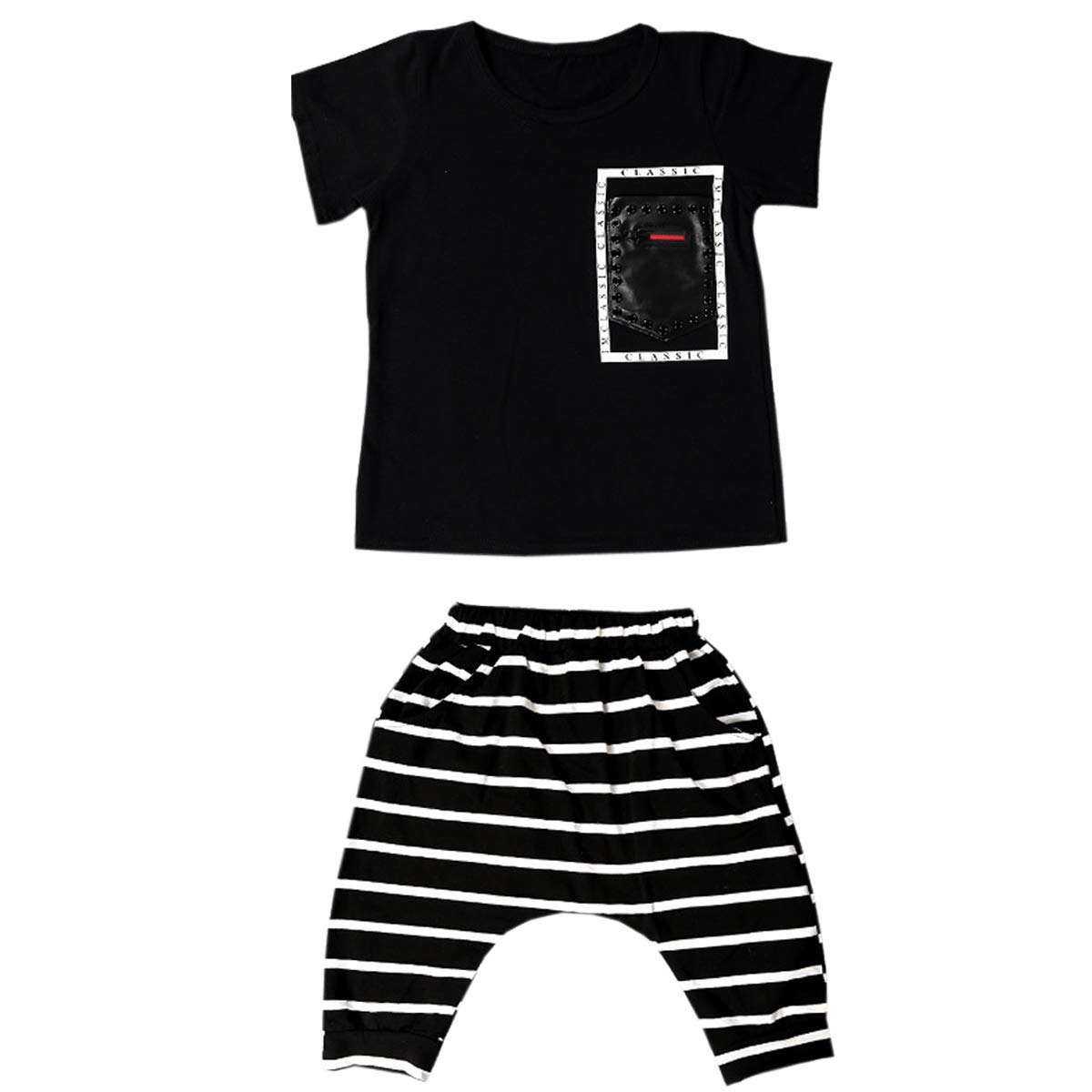 CASUALBOYS 2 Piece Boy T-Shirt + Striped Pants Loose Casual Hip-hop Performance Clothing Black