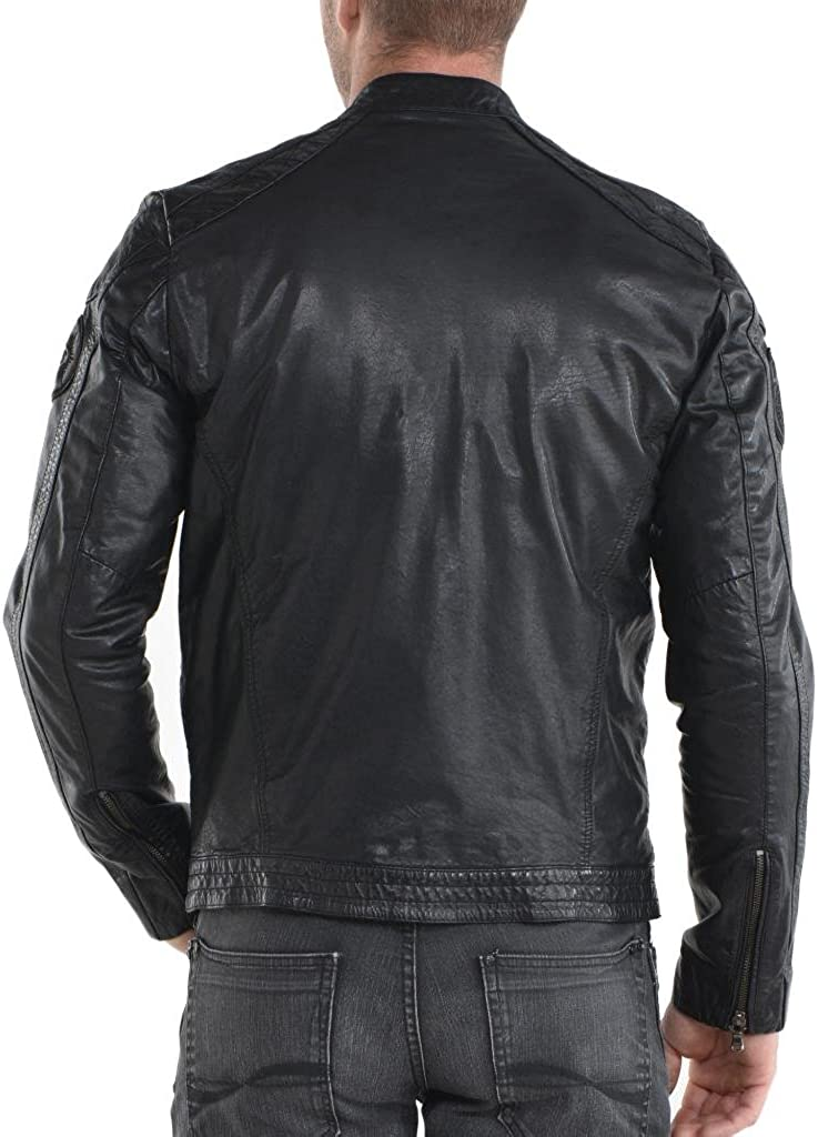 New York Leather Leather Bomber Mens Outwear Jacket Biker Motorcycle Slim Fit