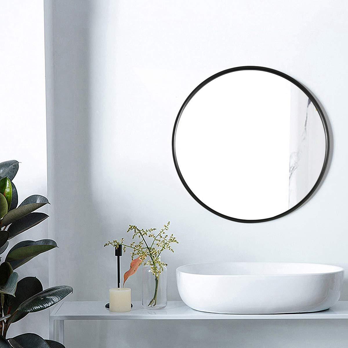 TinyTimes 27.56 Wooden Frame Wall Mirror, Round Vanity Mirror, Large, Clean, Decor, for Entryways, Living Rooms, Bathroom and More, Round Wall Mirror Black