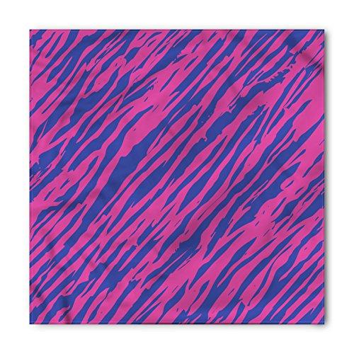 Ambesonne Unisex Bandana, Pink Zebra 80s Style Grunge, Cobalt Blue