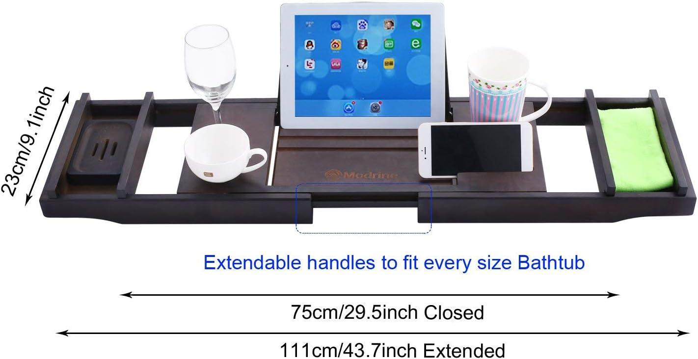 portavelas Bandeja para ba/ñera extensible de bamb/ú de ajustable con estante para libros dos bandejas extra/íbles de 75-111 x 23 x 4,5 cm soporte para jab/ón soporte para tel/éfono m/óvil