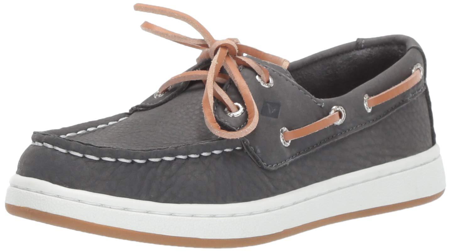 SPERRY Boys Cup II Boat Shoe, Grey, 040 Medium US Big Kid