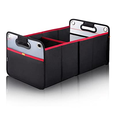Car Trunk Organizer, Collapsible Auto Trunk Organizer Storage, Portable Grocery Cargo Container with Two Large Compartments for SUV, Vehicle, Truck, Home and Office: Automotive