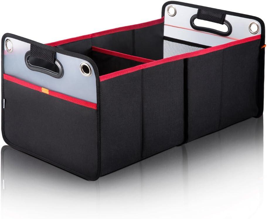 Eu Artis Kofferraumtasche Auto Kofferraum Organizer Mit Stabilem Boden Faltbare Kofferraumbox Aufbewahrungstasche Auto Faltbox Mit Zwei Großen Abteil Für Auto Suv Minivan Schwarz Auto