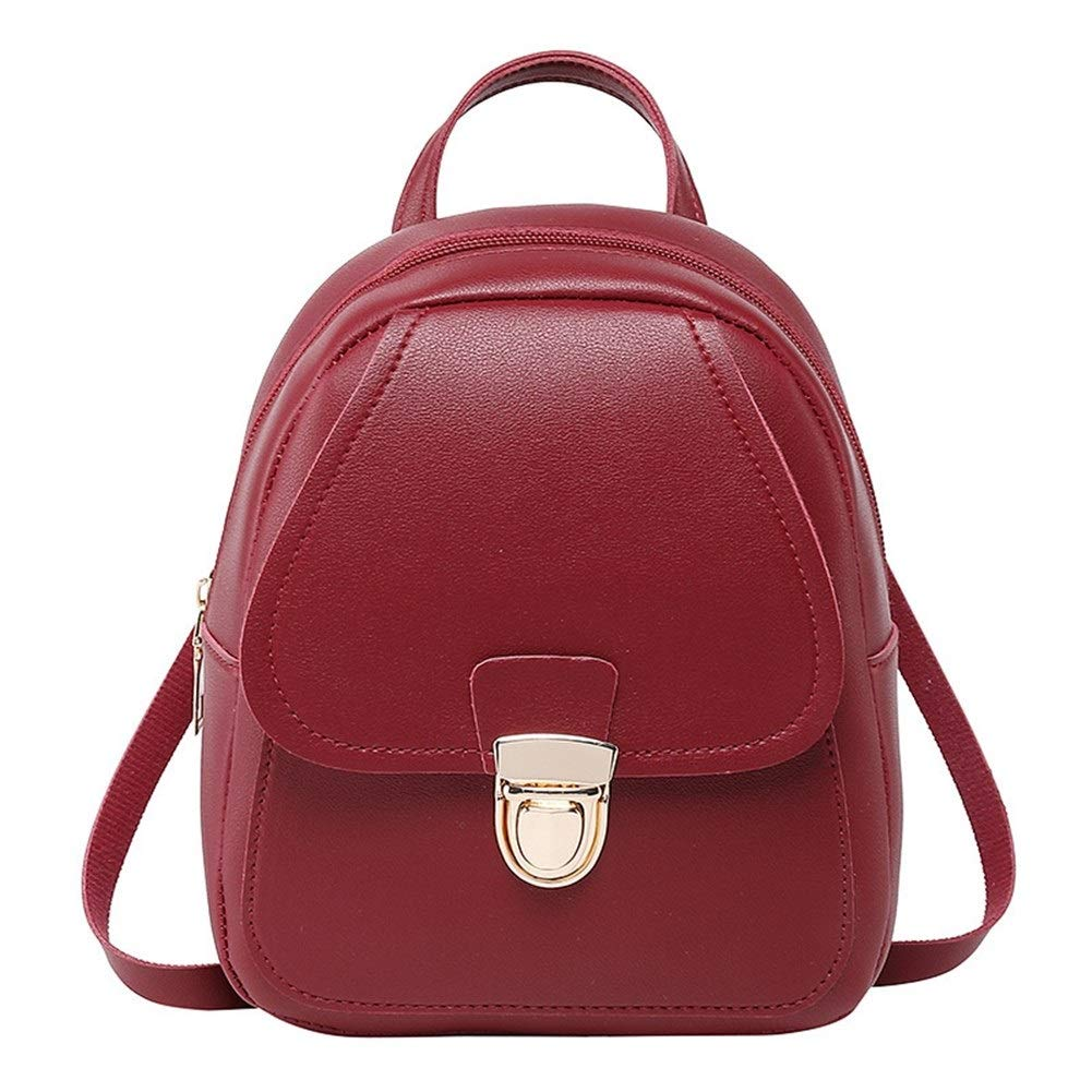 ZYSTMCQZ Vattentät PU-läder mini mode skolväskor för tonårsflickor kvinnor ryggsäck avslappnad resväska söt liten kvinna ryggsäck för företag (färg: svart) Brun