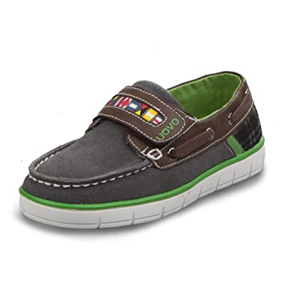 U-MAC Boys Sneakers Velcro Strap Loafter Lightweight Suede Casual Boat Shoes (Little Kid/Big Kid)