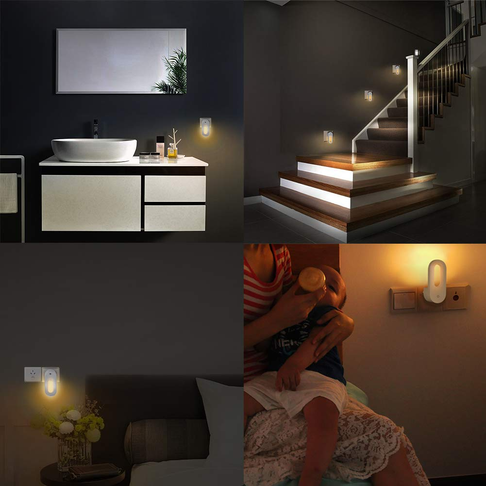 Warm White LED Night Lights with Dusk to Dawn Sensor Auto Adjustable Brightness Kitchen Joso Plug in Night Light Bedroom Hallway Stair 4-Pack 0.7W Wall Nightlight for Kids Room
