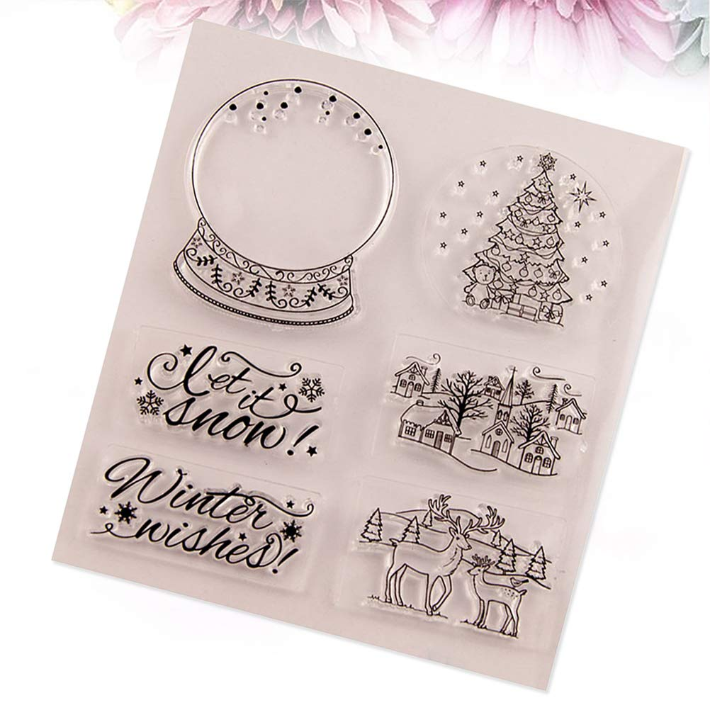 SUPVOX Christmas Silicone Clear Stamps Christmas Tree Reindeer Christmas Village Houses Let it Snow Pattern DIY Scrapbooking Craft Card Photo Album Diary Decoration