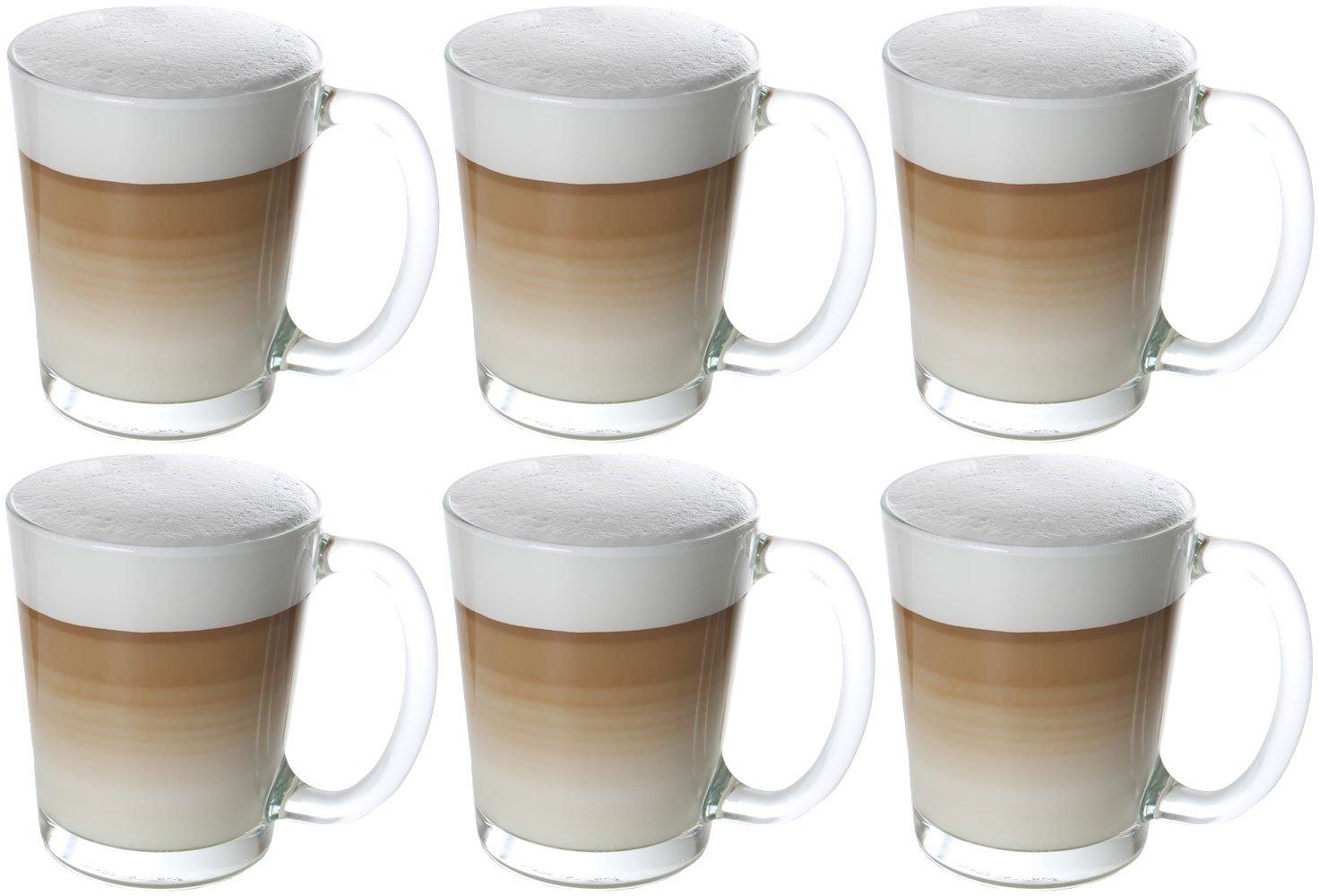 Takestop/® Juego 3/tazas 20/cl taza tazas de Caffe Caffe de cristal con mango acero taza vaso vasos Espressino Bar