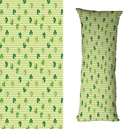 Set Hand Decorated Chess - Polyester Pillowcase Irish Retro Classical Checkered Pattern Decorated with Cute Green Shamrocks Garden Plants Wrinkle Resistance W16 xL23.5 Multicolor