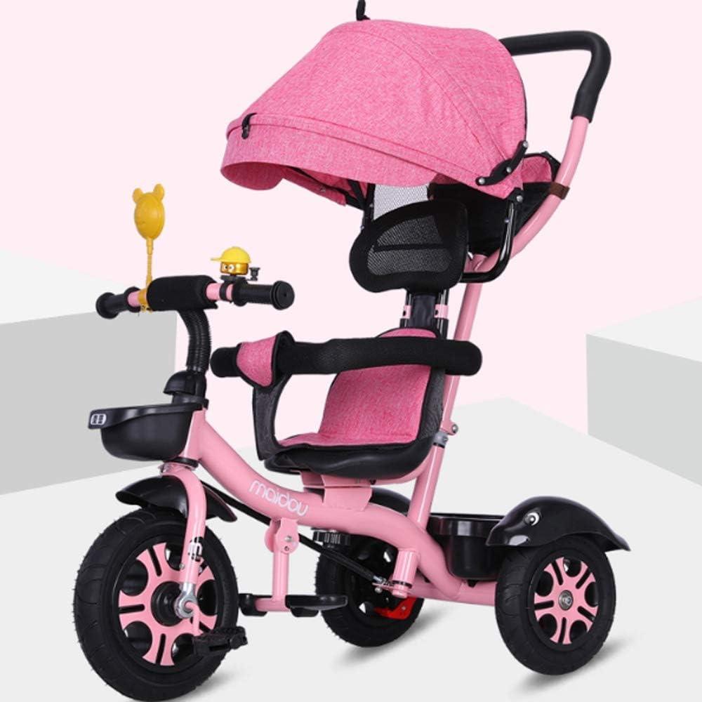 Moerc Triciclo infantil 1-3-5 Años de Edad grandes de la bici del bebé Cochecito for niños Triciclo 3 ruedas del cochecito de dos vías de implementación de bicicletas con pedaleo bloqueo y Silent Rued