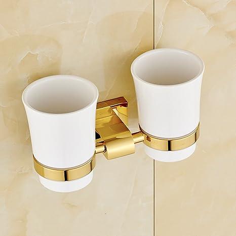 JIAJU Porta Tazas de baño de Cobre Dorado Porta Taza de Tazas de Porcelana Doble Portavasos