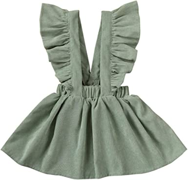 Cyeer ❤ Vestido de bebé para niña, Color sólido, con Volantes y ...