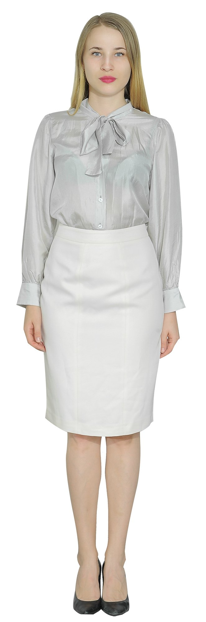 Marycrafts Women's Lined Pencil Skirt 4 Work Business Office 10 Beige by Marycrafts (Image #3)