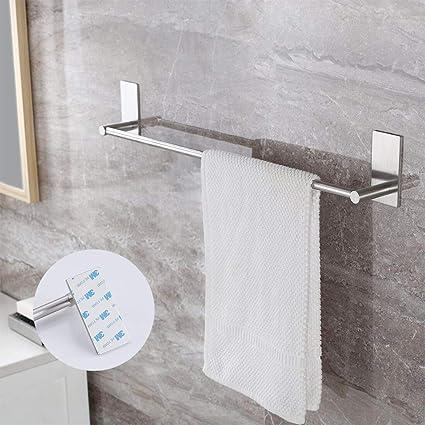 3M Self-Adhes Patented Glue Adhesive Towel Rail with 2 Hook,40cm Black Color