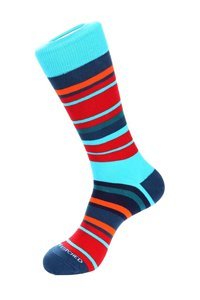 Unsimply Stitched Hudson StripeCrew Sock Fits Size 8 to 13 Blue//Red