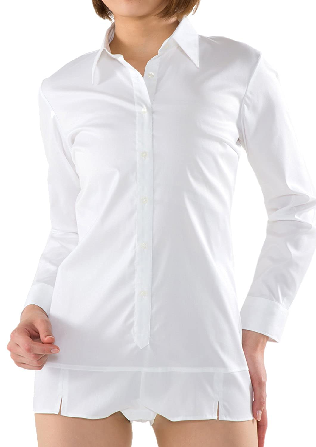 Leonis Womens Premium Stretch Easy Care Bodysuit Shirt At Amazon